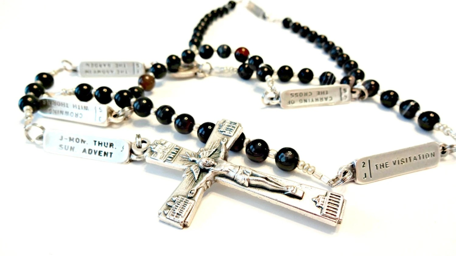 Black Onyx Rosary Mysteries Of The Rosary Beads By