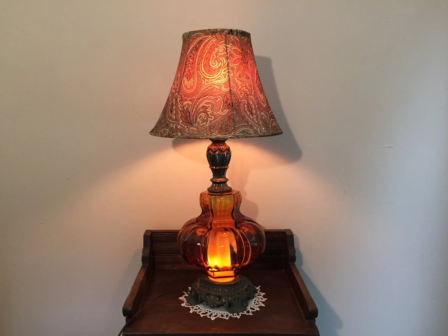 Retro Orange Amber Glass Table Lamp With Lighted Base