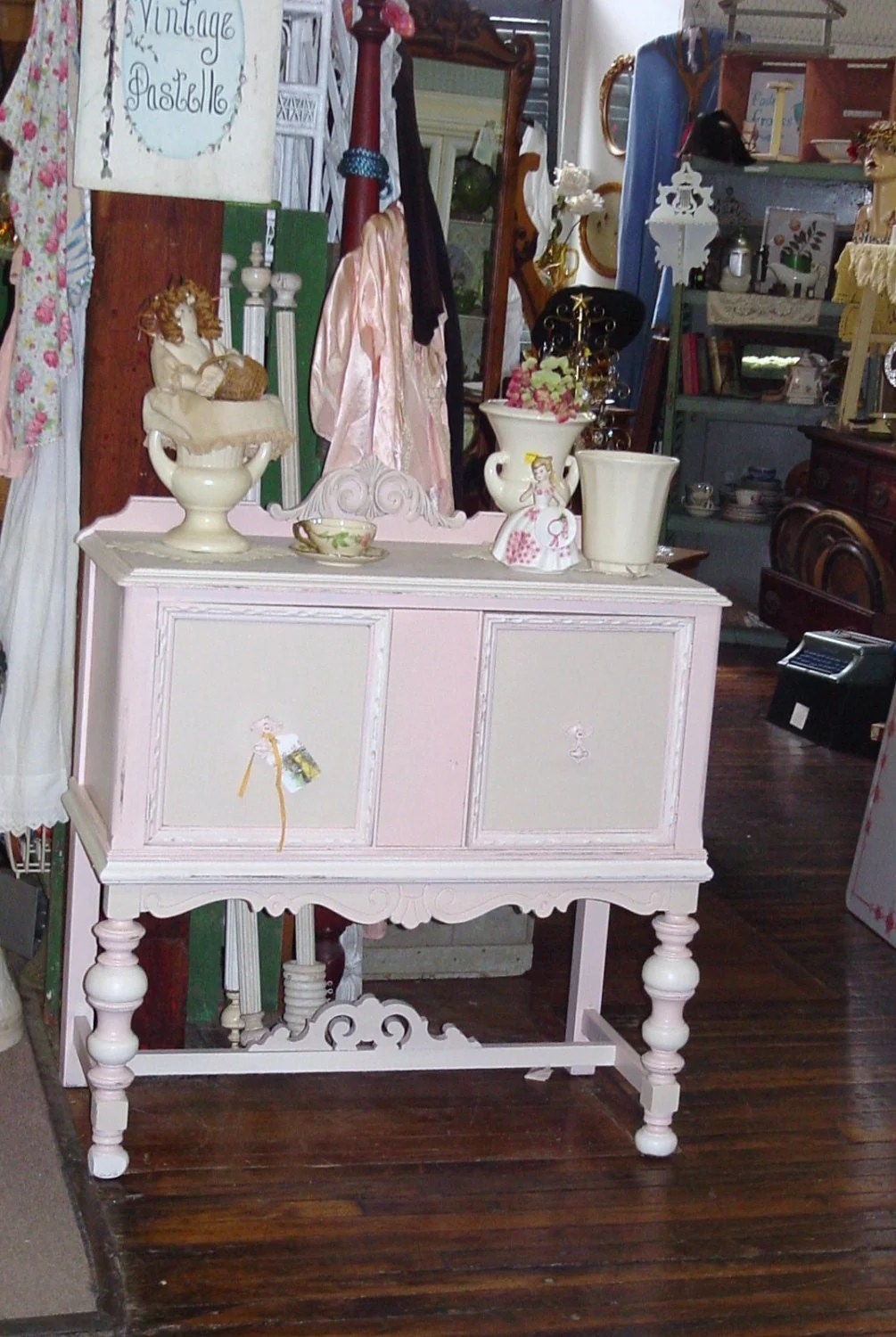 Vintage Pastel Painted Buffet Server Cottage Chic