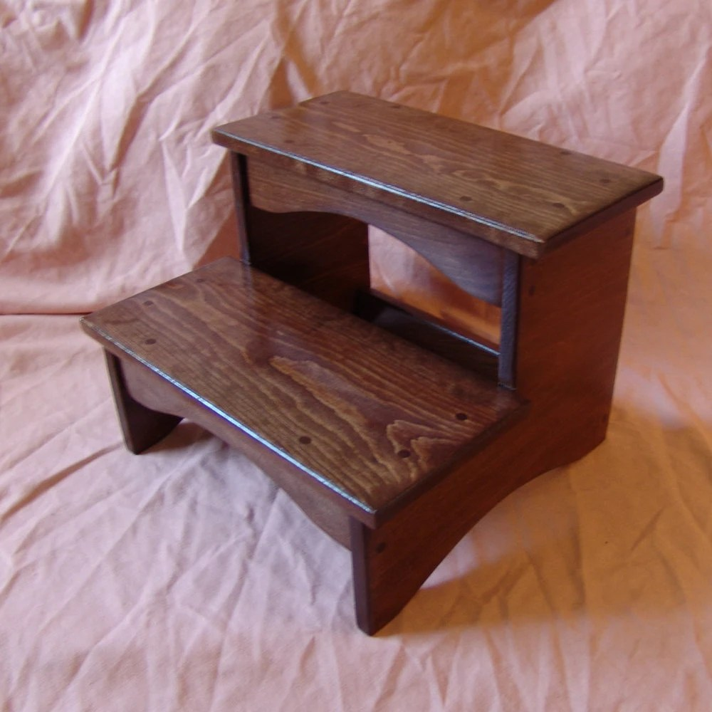 Handcrafted Heavy Duty Step Stool Wooden Adult Kitchen