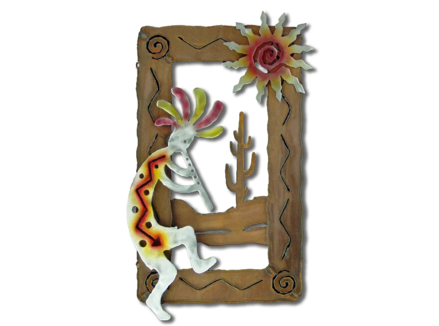 Metal Kokopelli Wall Sculpture With Sun And Cactus Rusted