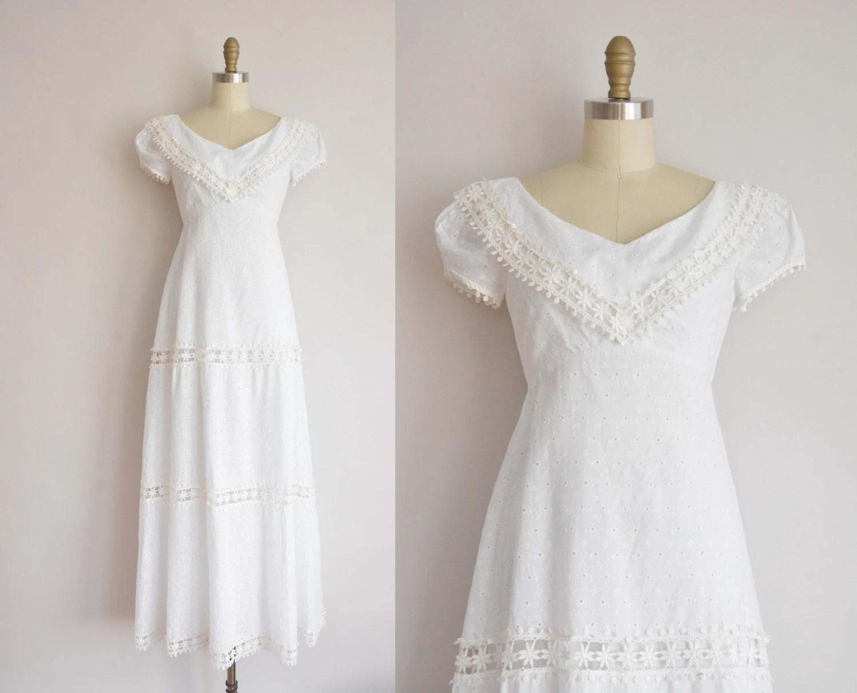 Vintage 1960s Dress / White Cotton Eyelet Wedding Dress / 60s