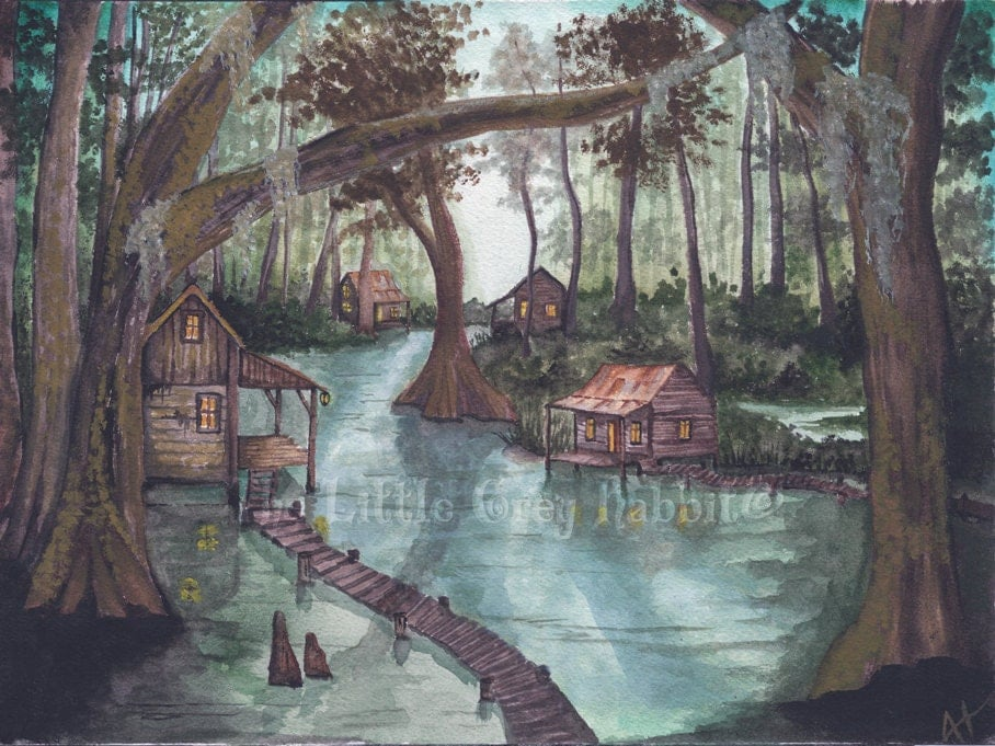 Bayou Watercolor Swamp Painting Landscape Green And Brown