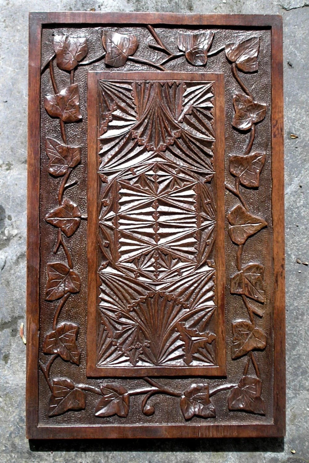 Antique arts crafts carved panel with intricate gothic