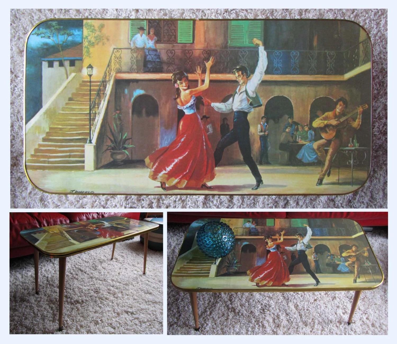 Rare Retro Kitsch Picture Coffee Table, Dansette Legs
