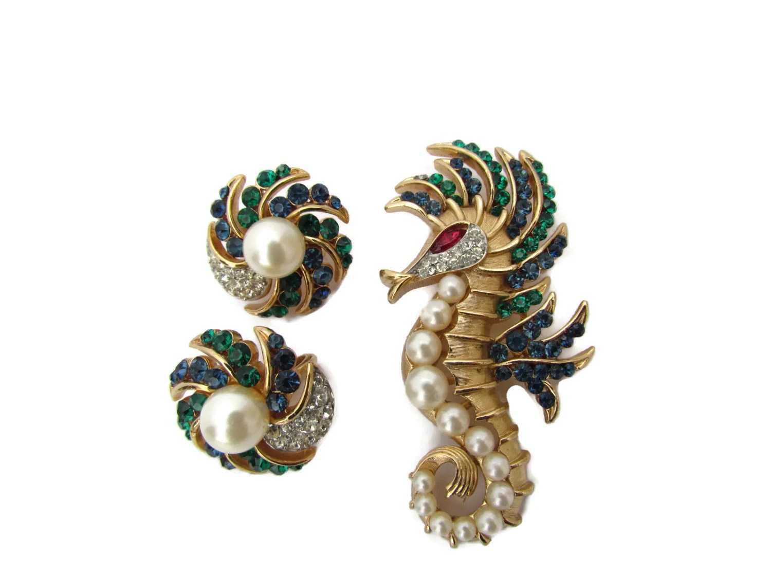 Signed Trifari Jewelry Alfred Philippe Seahorse Brooch Sea