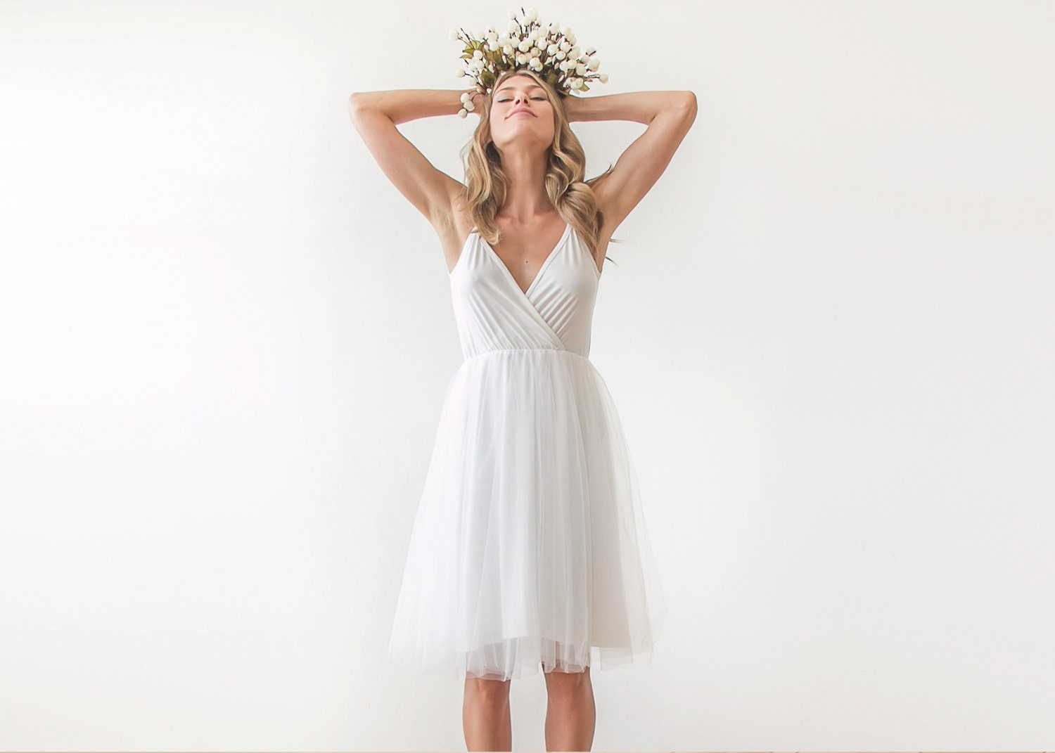 Ivory Straps Short Wedding Gown Wrap Tulle Midi By