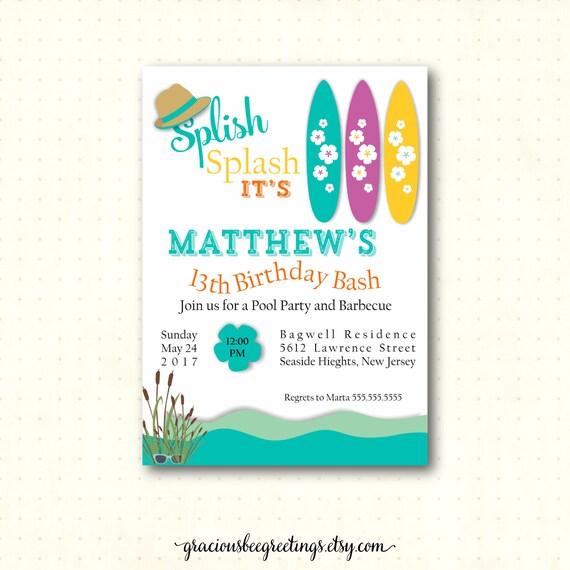 13th Birthday Pool Party Invitations