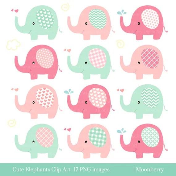 Girly Baby Elephant Clip Art