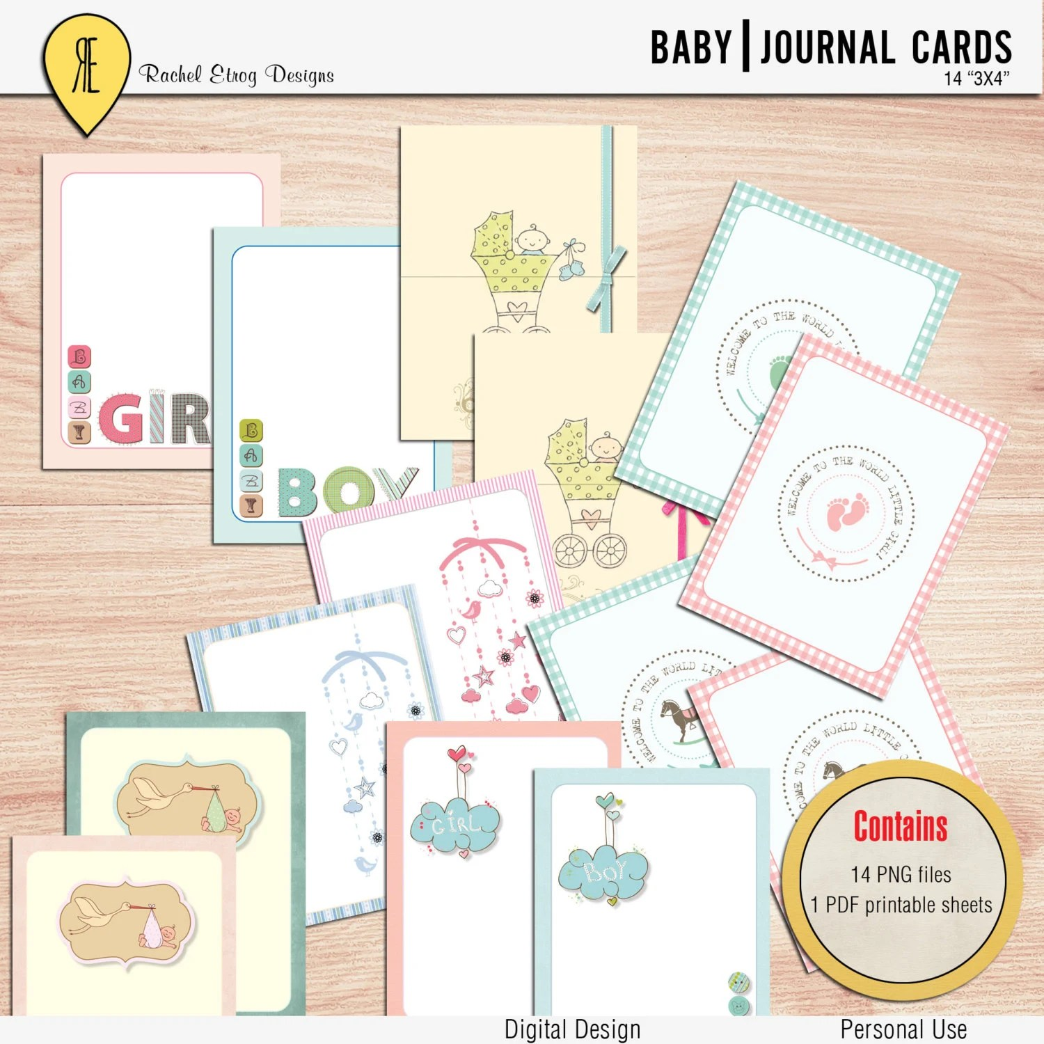 Baby Journal Cards Instant Download Printable Journaling