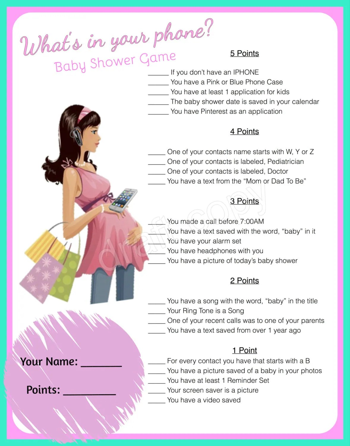 Baby Shower Game Whats In Your Phone