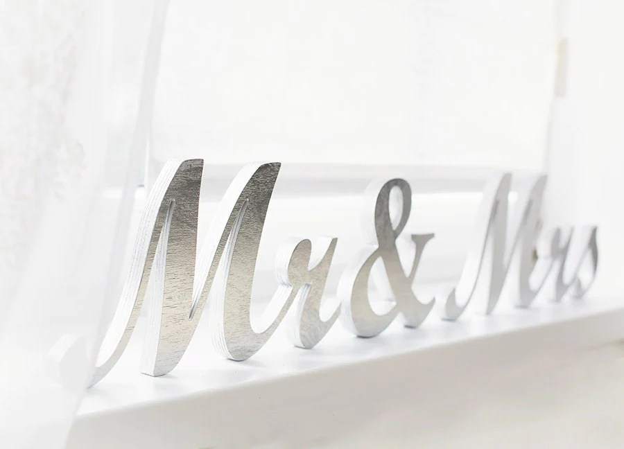 Mr And Mrs Table Sign Wedding Wooden Letters DIY Custom