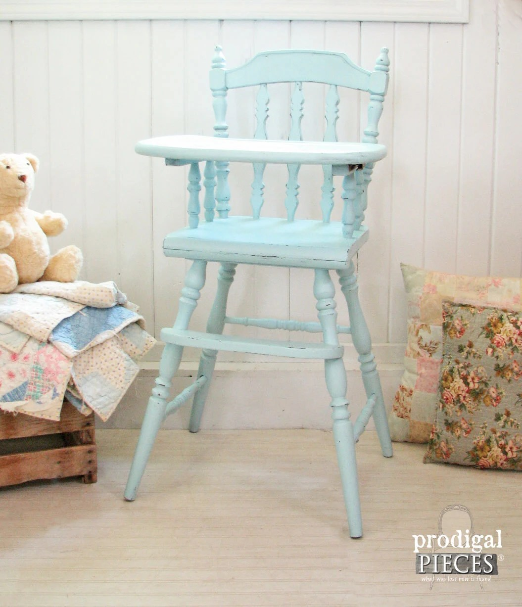 Painted wooden high chairs - Superb Img Of Aqua Blue Vintage Wooden Baby High Chair With Hand Painted Plate With