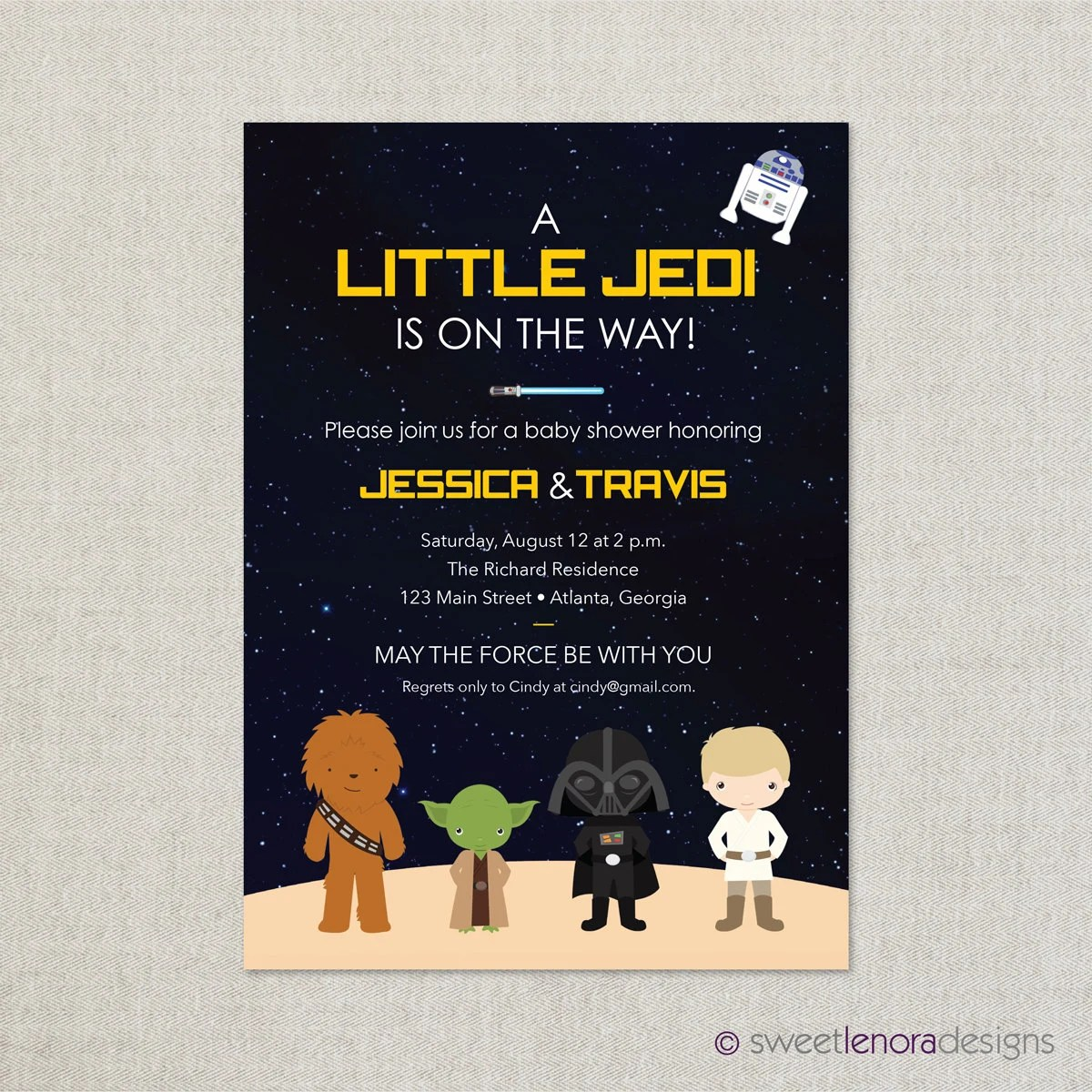 Star Wars Baby Shower Invitation Printable By Sweetlenoradesigns