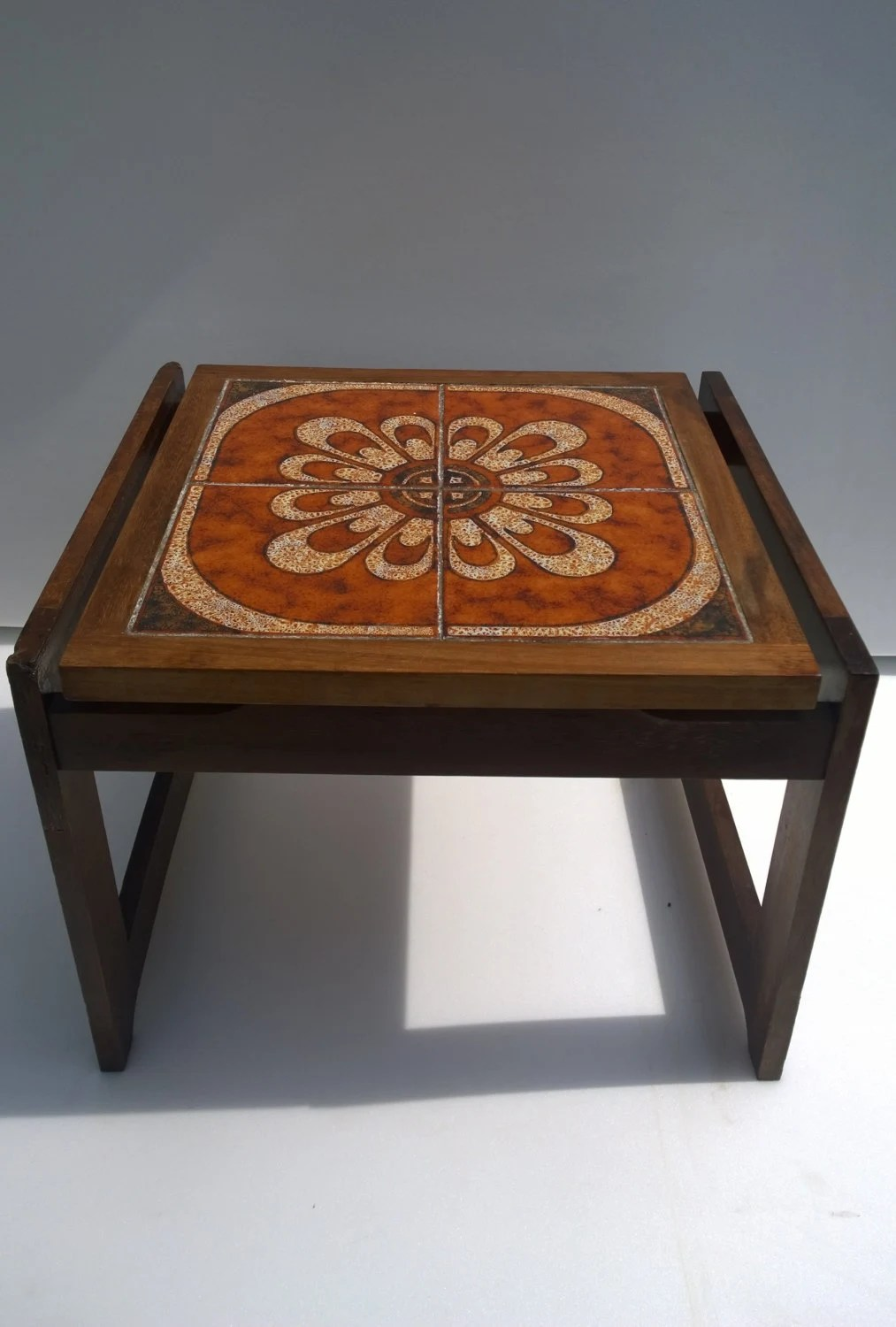 Vintage Retro 70s Tile Top Table Side Coffee End Table