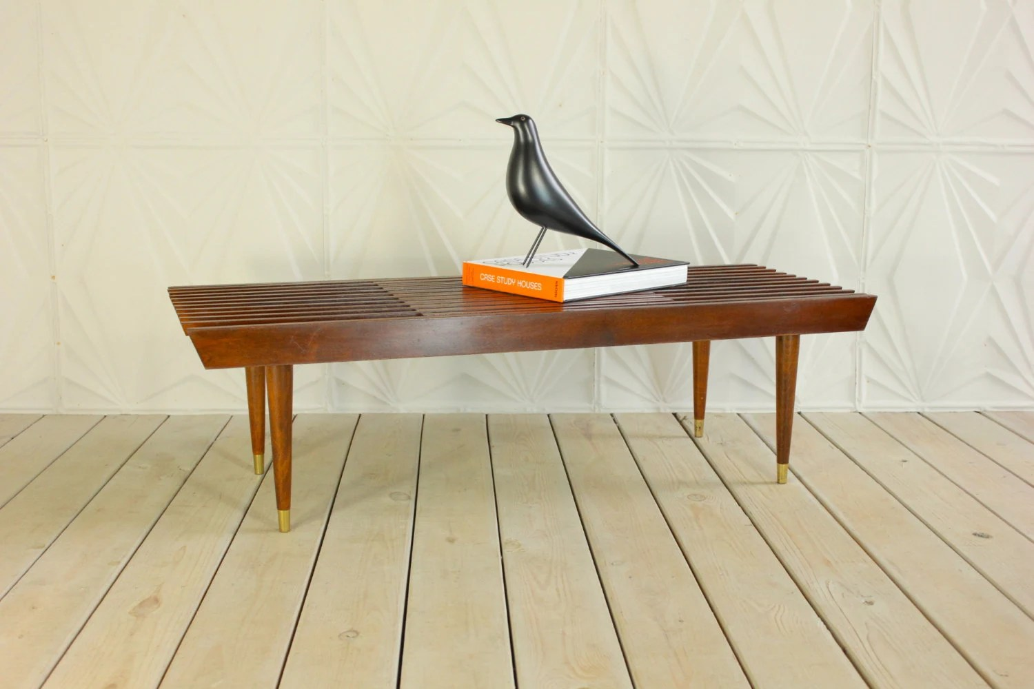 Danish style wood expandable slat bench table 60 mid for 60s style coffee table