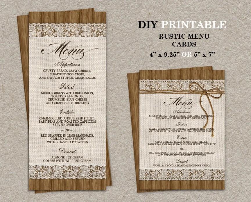 Rustic Wedding Menu Cards