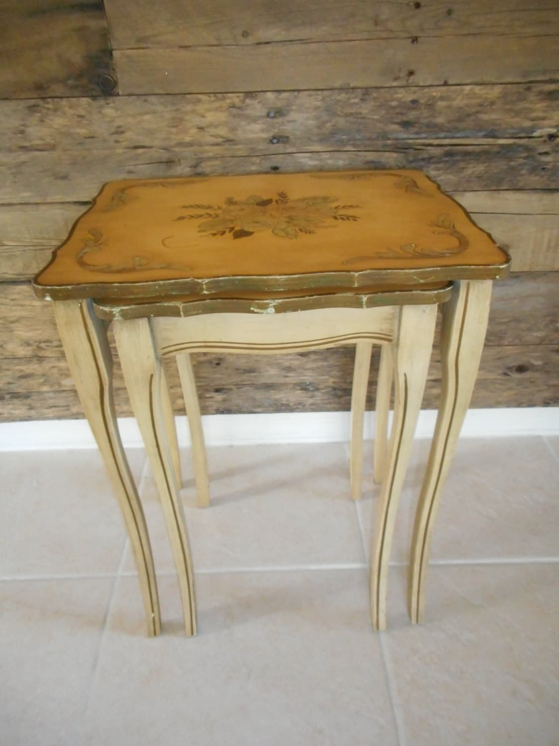 SOLD ~~ Vintage Solid Wood Hand Painted Floral Nesting Tables ~ French . Full resolution‎  image, nominally Width 1125 Height 1500 pixels, image with #A1722A.