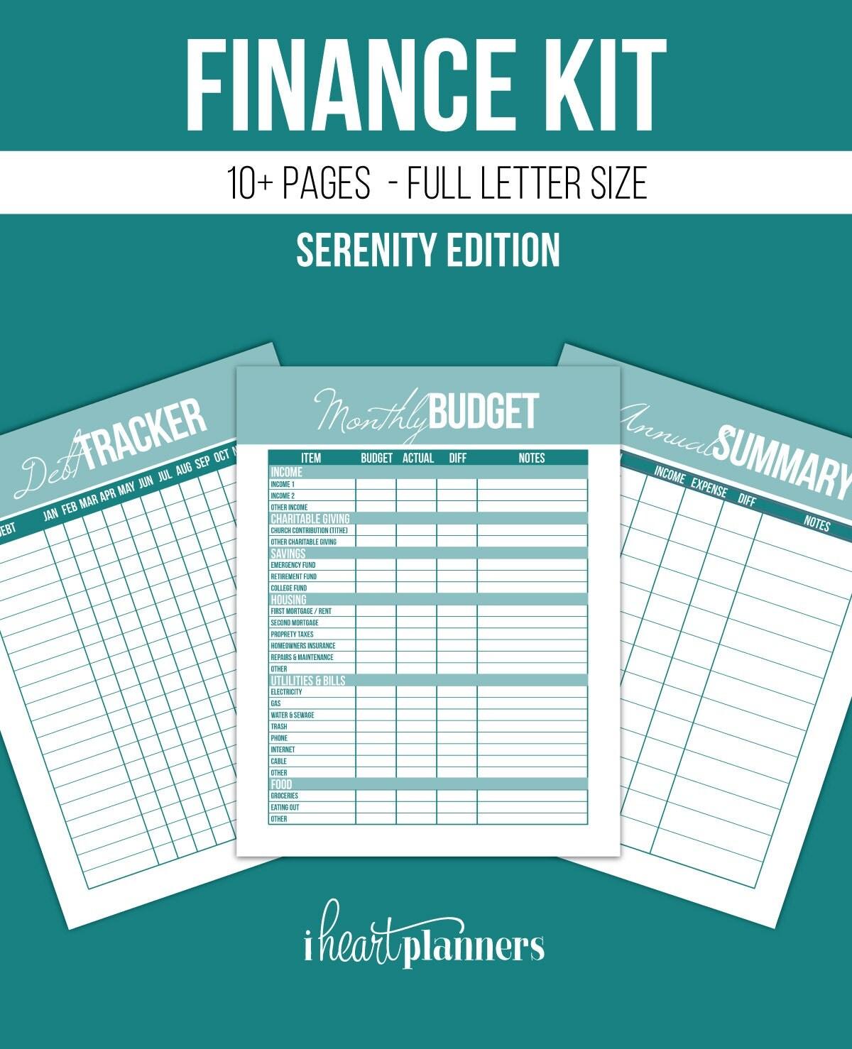 Finance Printables Kit Full Letter Size Serenity Edition