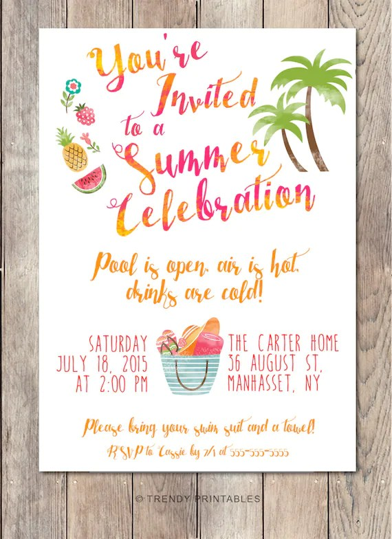 Pool Party Invitation Summer Party Invitation Back Yard