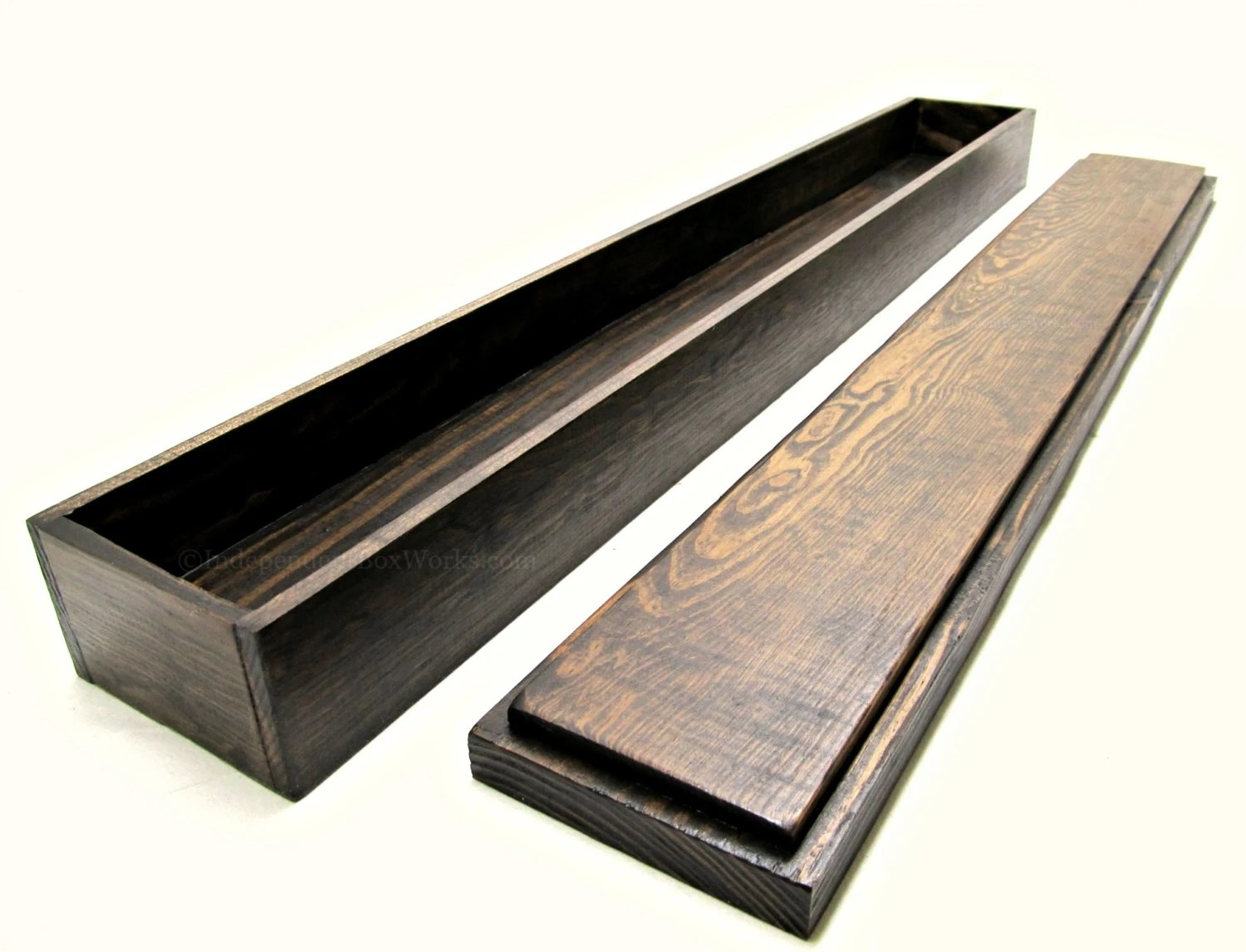 Long Wooden Box With Lid Rustic Skinny Storage Box 30 Inch