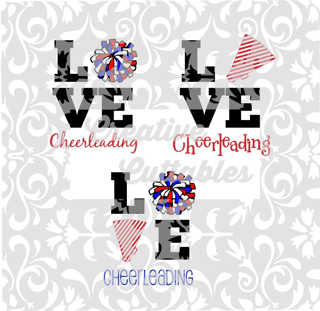 Download Cheer SVG LOVE Cheerleading Pom Poms Megaphone for