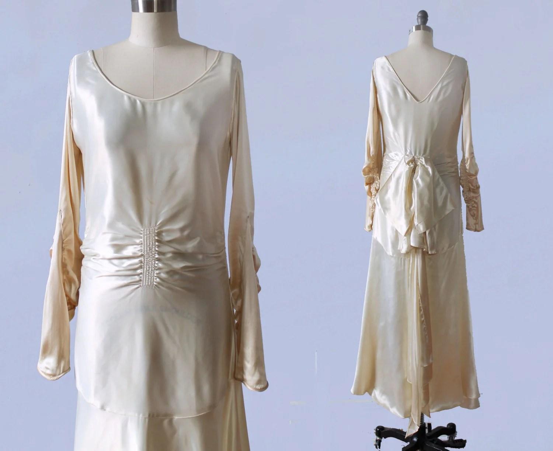 1920s Wedding Dress / 20s LIQUID SATIN Flapper Bridal Gown