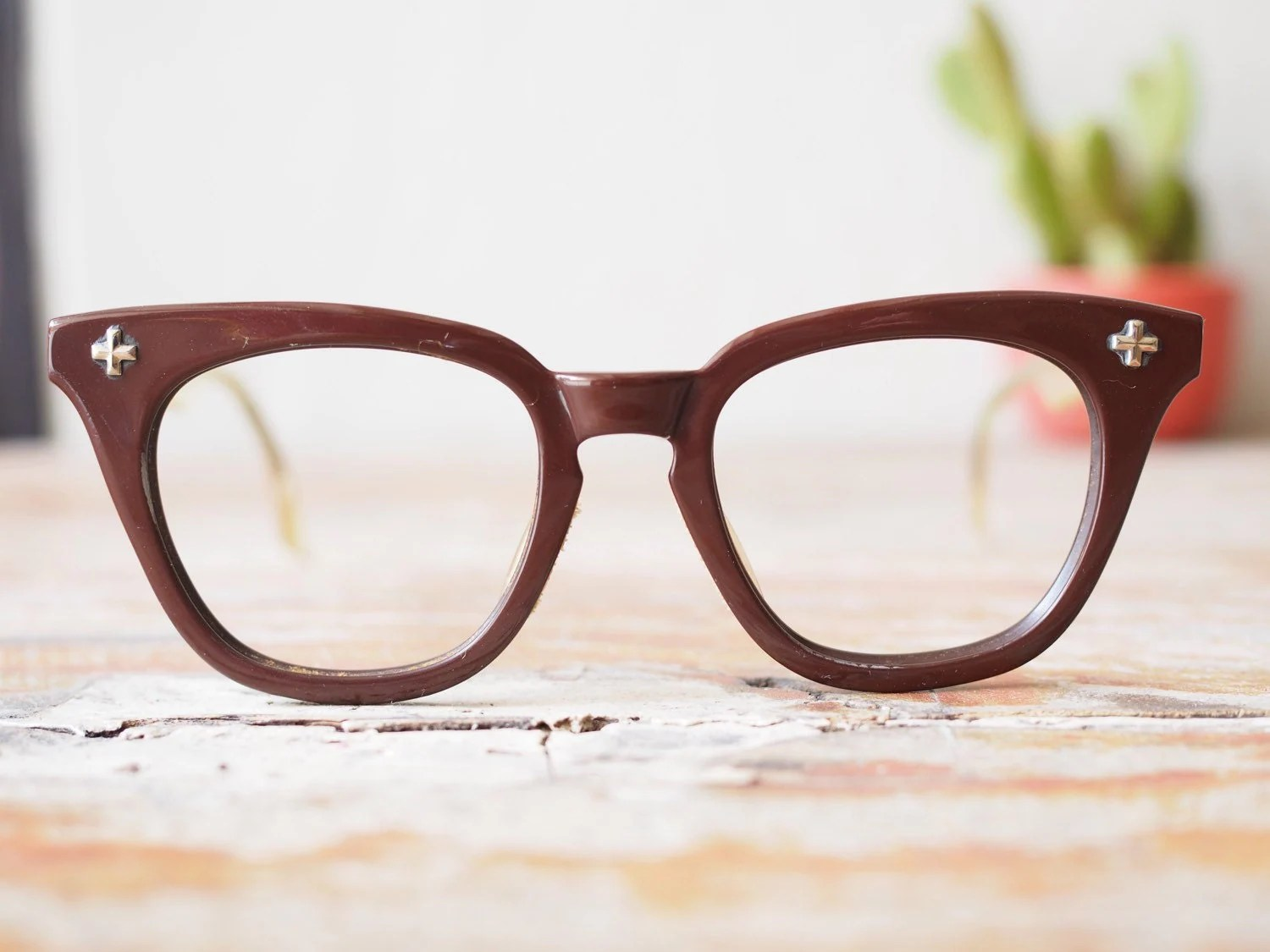 vintage bausch and lomb eyeglasses choclate brown 1950 s