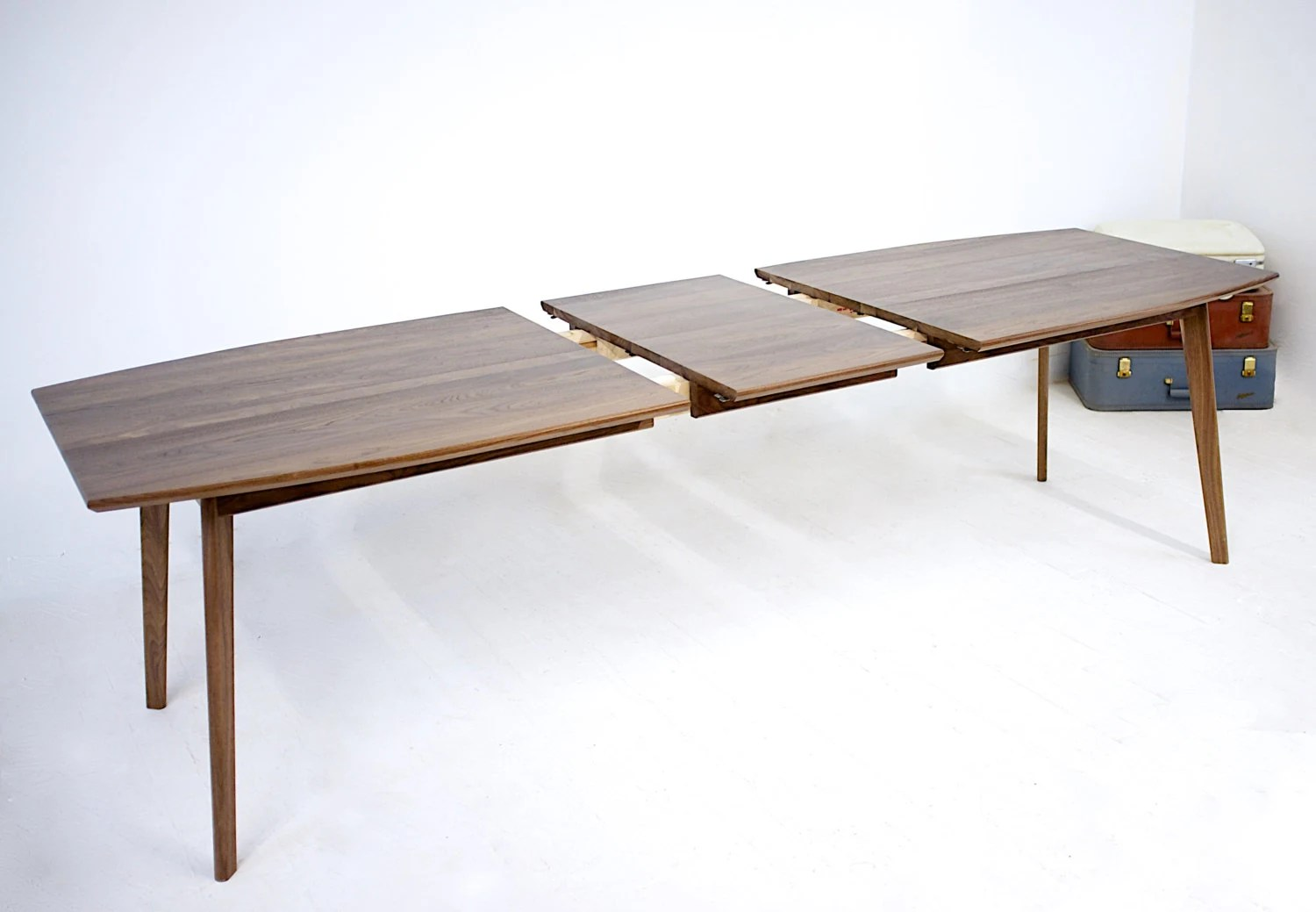 Extension Dining Table Midcentury Modern Walnut Dining Table