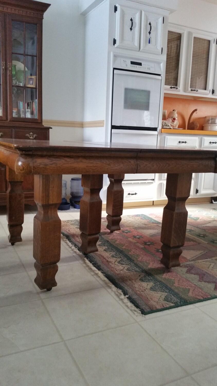 Antique solid oak dining table 6 leaves leaf 8 chairs for Solid oak dining table with leaf