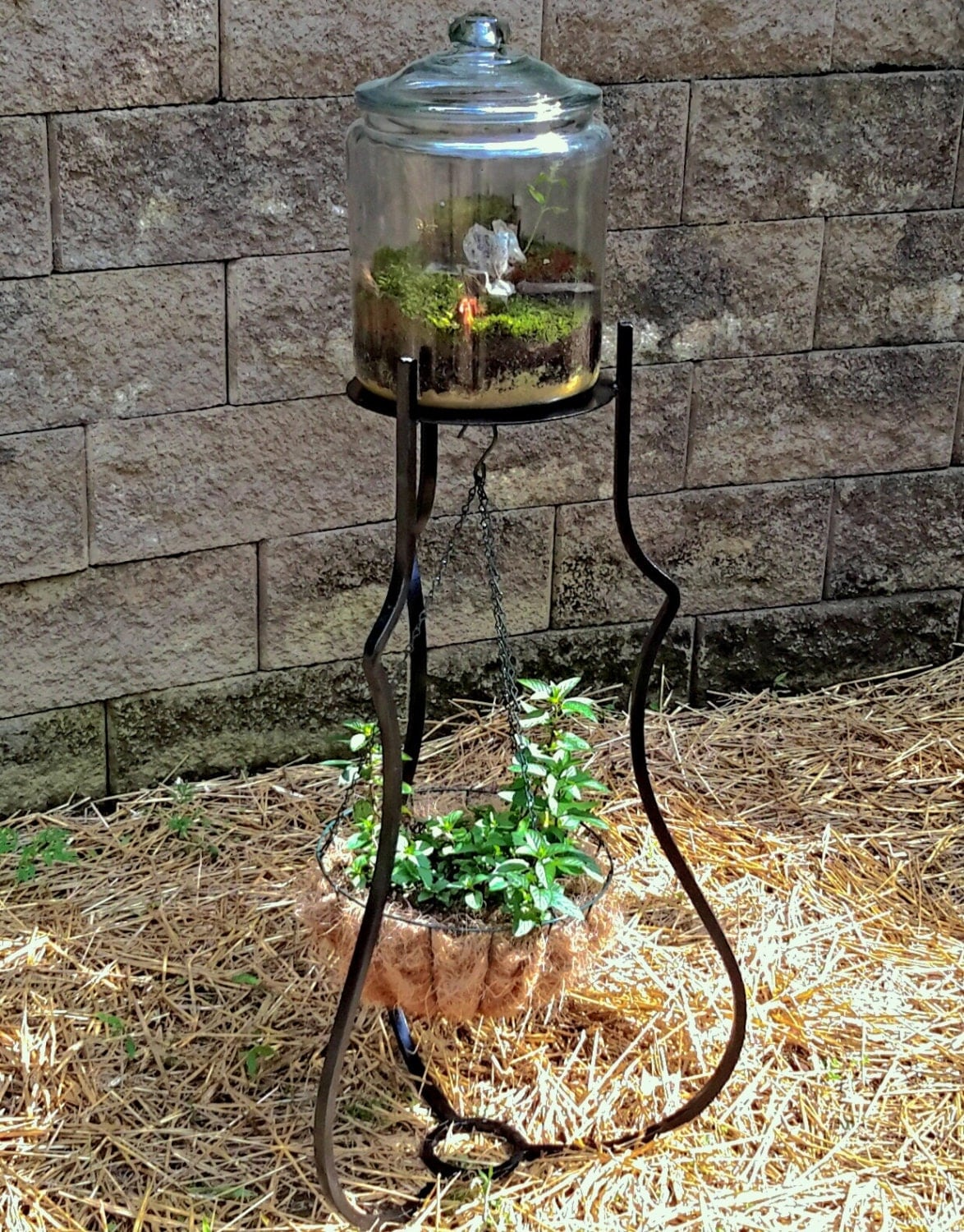 Hand Fabricated Iron Plant Stand and Hanging Basket on Plant Stand Hanging  id=13929