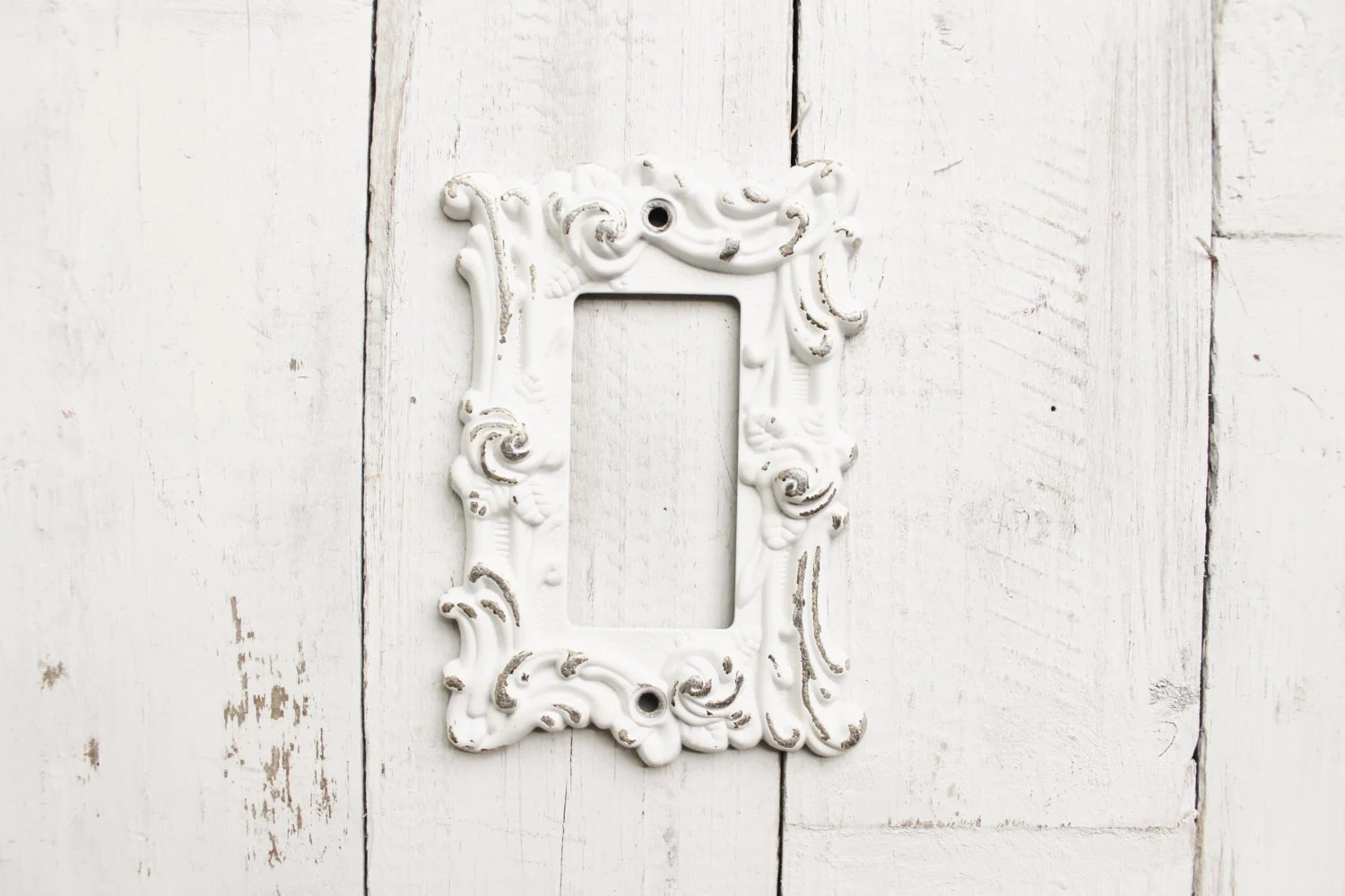 Metal Wall Decor Light Switch Cover In Shabby White Gfi Rocker