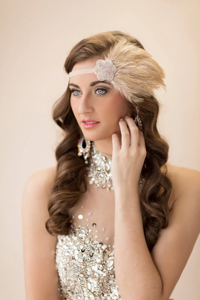Gatsby Headpiece For 20s Champagne Dress Silver Beaded