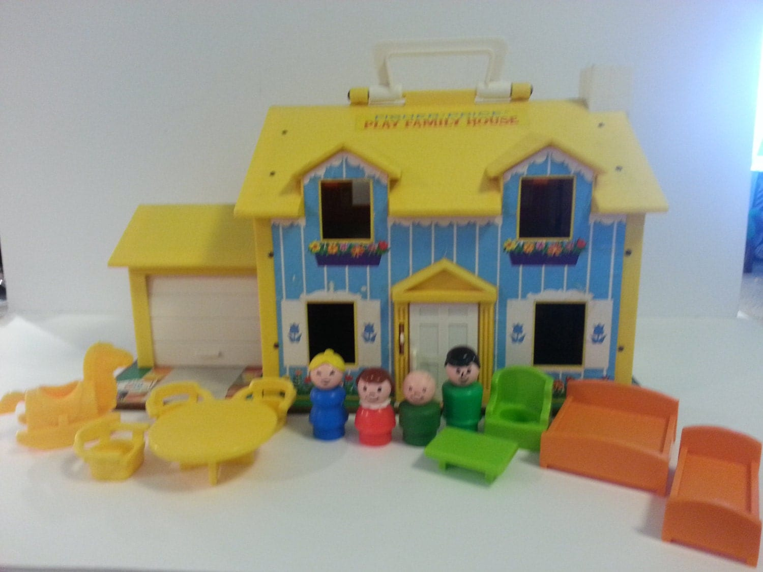Vintage 1969 Fisher Price Little People Blue White Tudor Dollhouse With Furniture And Dolls