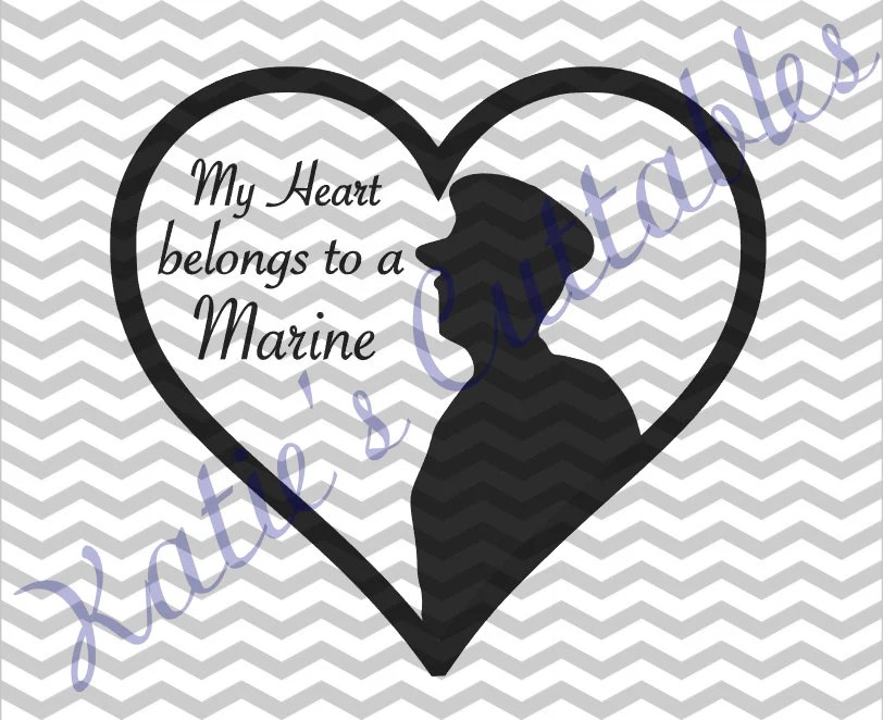 Download My Heart Belongs To A Marine .SVG File
