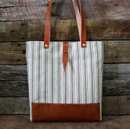 Genuine Leather / Ticking Blue Stripe Fabric Handbag