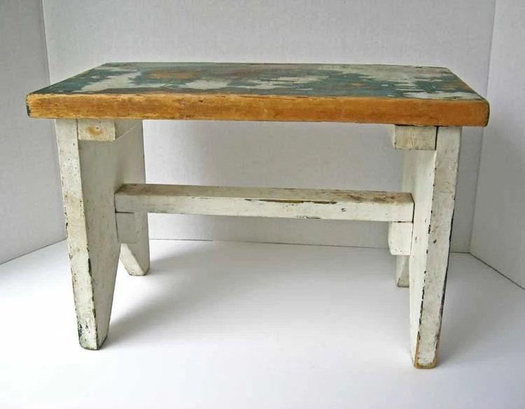 Vintage 1940 Rustic Wooden Farm Foot Stool, Small Bench In