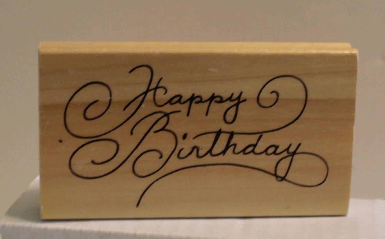 Happy Birthday Cursive Font Rubber Stamp