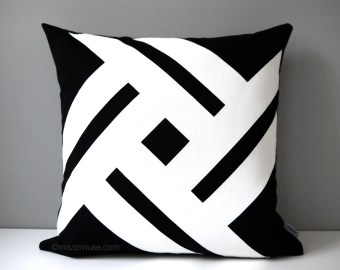 Black Outdoor Pillow