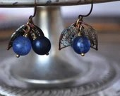 Vintage Dusty Blueberry Fruit Earrings With Brass Wirework Scroll Leaves - Vintage Assemblage
