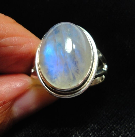 Large Oval Rainbow Moonstone Ring in Sterling Silver Size 9