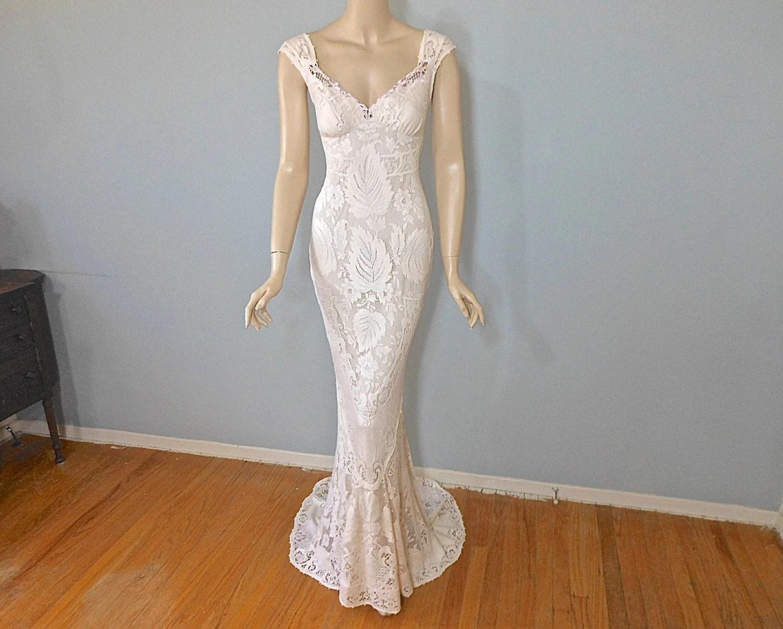 Bohemian MERMAID Lace Wedding Dress VINTAGE Inspired Boho