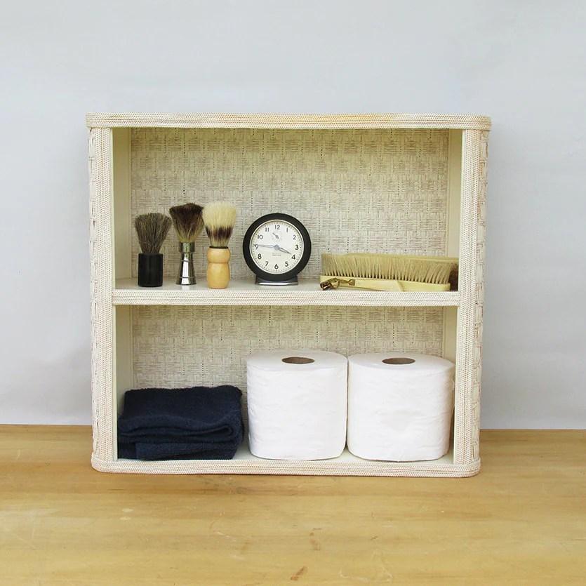Wicker Wall Shelf Bathroom: Mid Century White Wicker Bathroom Shelf