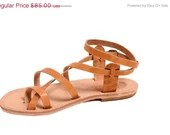 Strappy Sandals, Leather Sandals, A classic Greek sandal with a fully adjustable strap, handmade with genuine leather for superb com