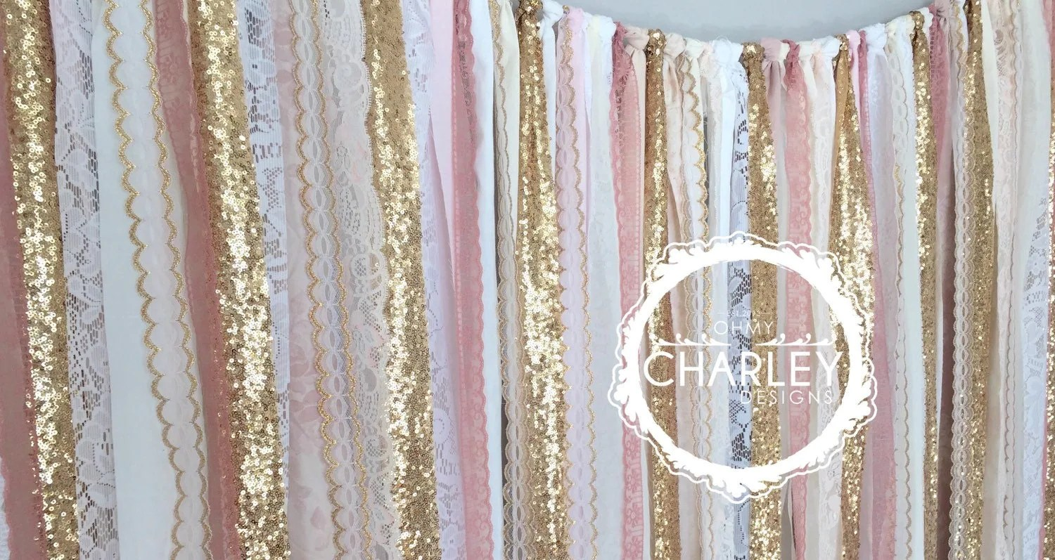 Pink Amp Gold Sparkle Sequin Fabric Backdrop With Lace Wedding