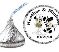 Mickey and Minnie Wedding Favors Hershey Kiss labels
