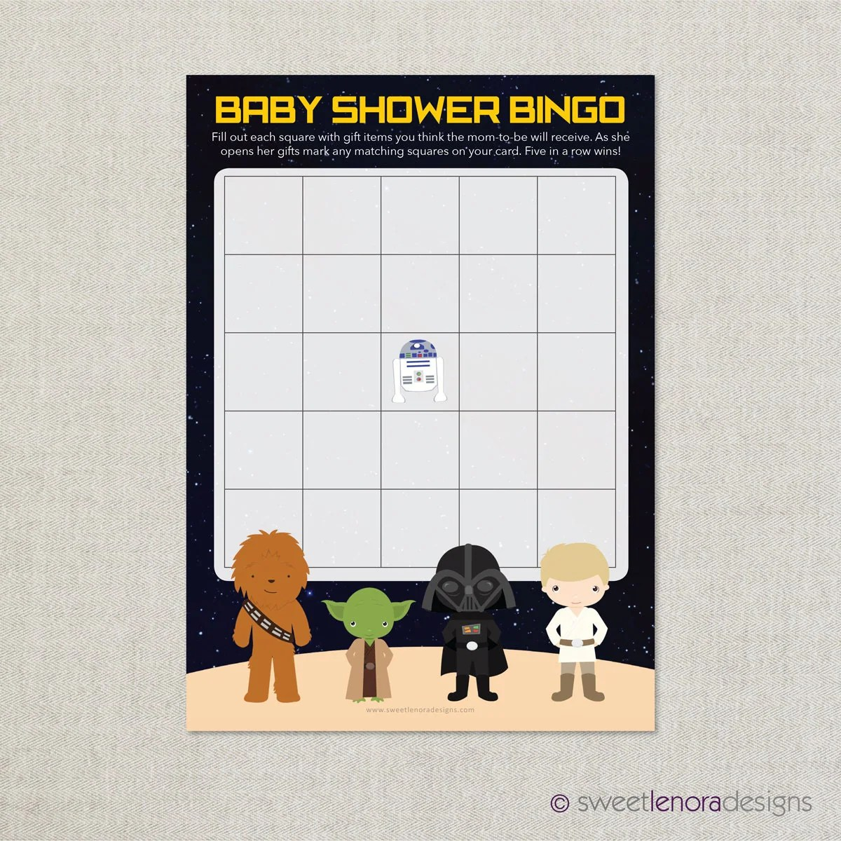 Star Wars Baby Shower Bingo Printable Baby By Sweetlenoradesigns