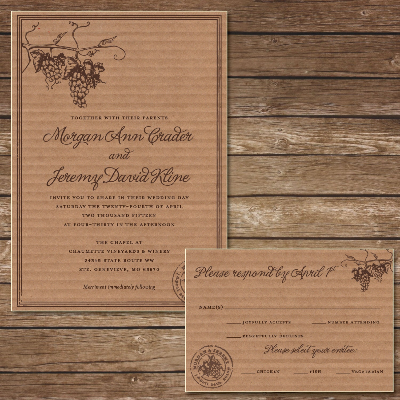 Rustic Vineyard Wedding Invitations