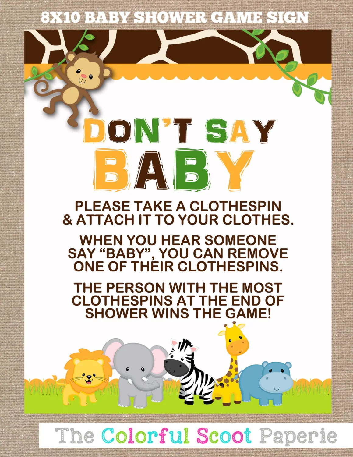 Instant Download Jungle Baby Shower Don T Say By