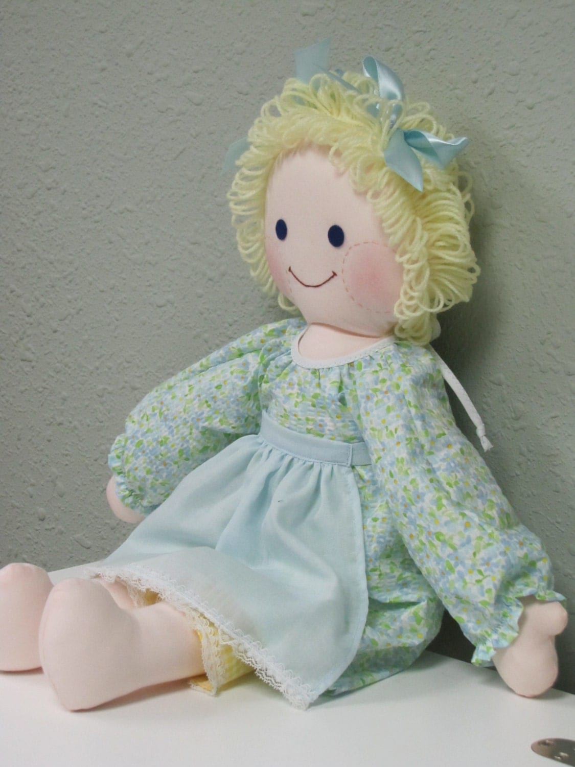 Rag Doll With Blond Yarn Hair And Blue Eyes Comes With